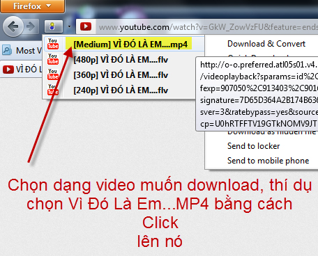 Dùng downloadhelper add-on trên Firefox browser để lấy video, audio